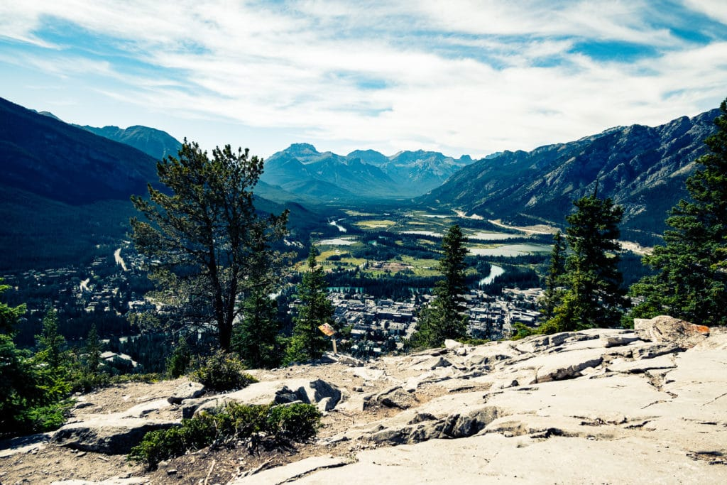 Banff and the Bow Valley from the summit of Tunnel Mountain.